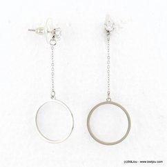 boucles d'oreilles minimaliste anneau fine chaîne acier inoxydable rhinestone 0317671 argenté