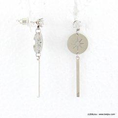 boucles d'oreilles minimaliste tige soleil acier inoxydable rhinestone 0317675 argenté