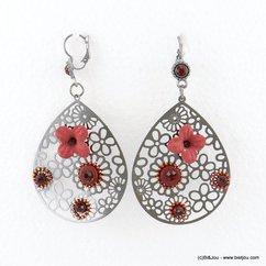 boucles d'oreilles goutte filigrane fleur 0317683 rouge