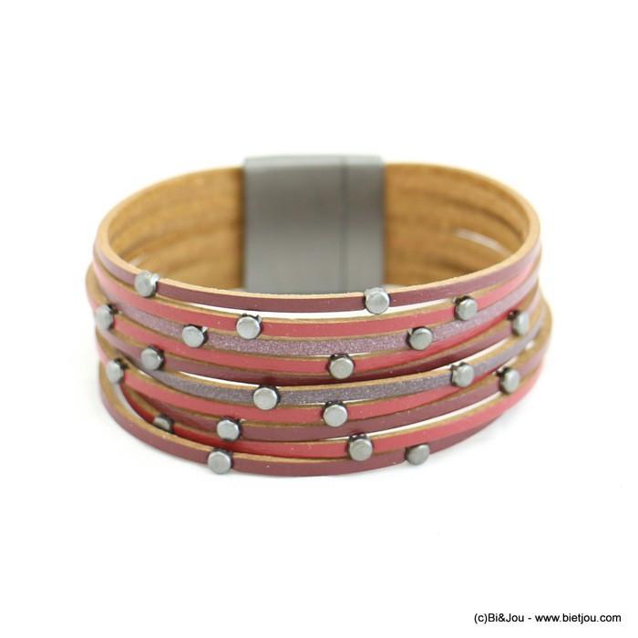 bracelet manchette multi-liens CUIR véritable aimanté 0217527