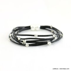 bracelet manchette aimanté multi-liens CUIR véritable rhinestone 0217528 noir