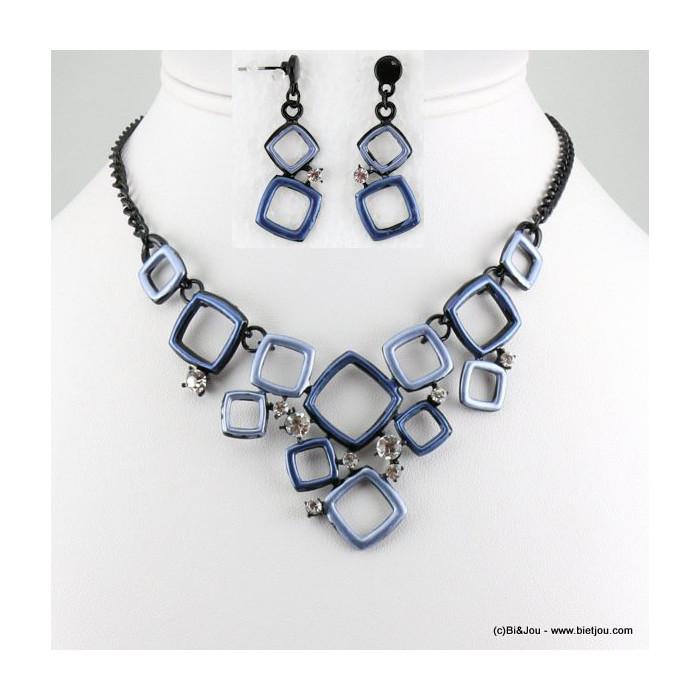 parure collier+boucles d'oreilles émail géométrique carré 0116549
