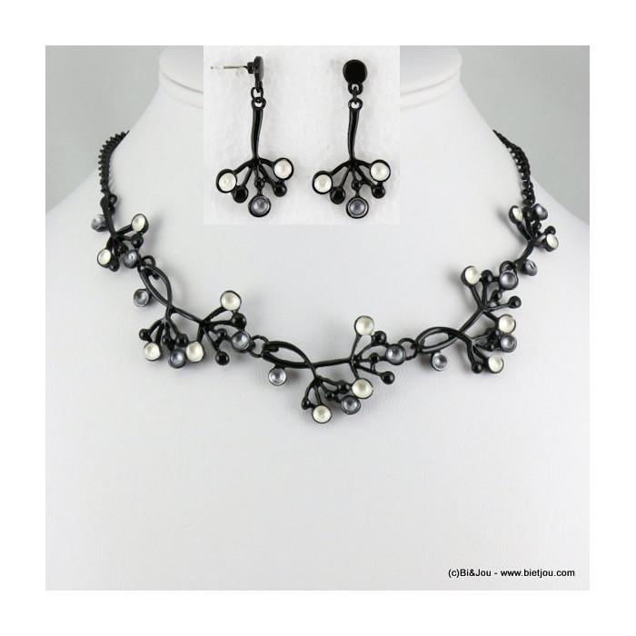 parure collier+boucles d'oreilles émail grappe de raisins 0116552
