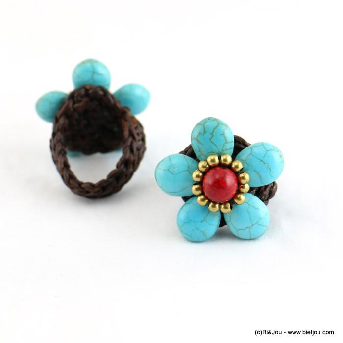 bague fleur pierre marbrée style turquoise 0416007