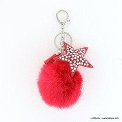 porte-clefs bijou-de-sac étoile rhinestone boule de poil 0817503 fushia
