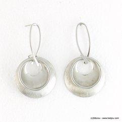 boucles d'oreilles XXL oversize anneau pièce métallique brossée 0317903 argenté