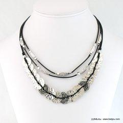collier multi-rangs pièces métalliques cordons coton ciré 0117651