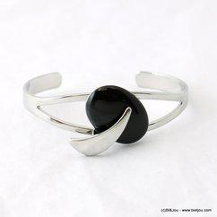 bracelet jonc ouvert pierre onyx noire 0217922