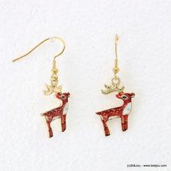 boucles d'oreilles vintage cerf 0317935 marron