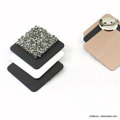 broche glitter bicolore carré de strass cone 0517907 noir
