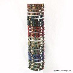 lot de 24 bracelets simili-cuir 7 couleurs strass colorés 0217559