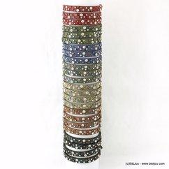 lot de 24 bracelets simili-cuir 7 couleurs clou strass 0217560