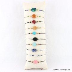 lot de 10 bracelets fins minimaliste coulissants pierre naturelle 0217938