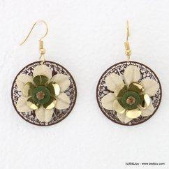 boucles d'oreilles hippie pendante ronde fleur tissu 0317706 naturel/beige