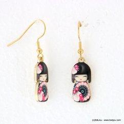 boucles d'oreilles vintage poupée japonaise kimono 0317937 noir