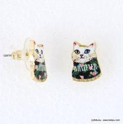 boucles d'oreilles vintage chat matou fleur 0317938 noir