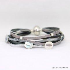 bracelet aimanté multi-brins cuir véritable pièces de nacre 0218031 noir