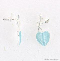 boucles d'oreilles feuille époxy couleur pastel 0318018 bleu
