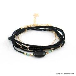 bracelet bohème double-tours façon-daim pierre reconstituée 0217933 noir