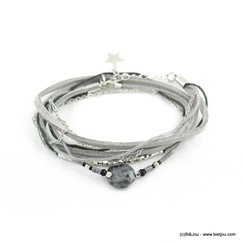 bracelet bohème double-tours façon-daim pierre reconstituée 0217935 gris clair