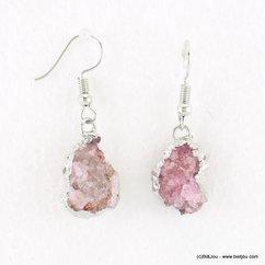boucles d'oreilles pierre naturelle forme goutte 0318024 violet