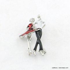 broche couple danseurs émail 0518005 rouge