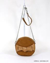 sac rond à bandoulière chaîne tissu suédine aspect daim 0918081