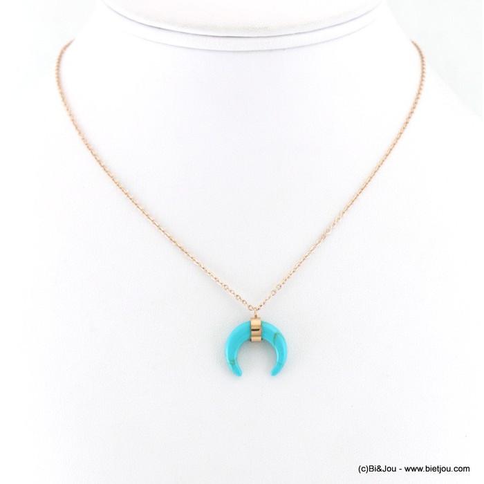 collier acier inoxydable corne lune pierre reconstituée 0118202