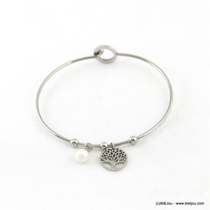 Bracelet jonc en acier inoxydable avec charms arbre de vie et perle