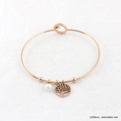bracelet jonc ouvrable charms arbre de vie acier inoxydable imitation perle 0218026 argenté