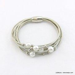 bracelet femme aimanté multi-brins ressort métal imitation perle 0218057 argenté