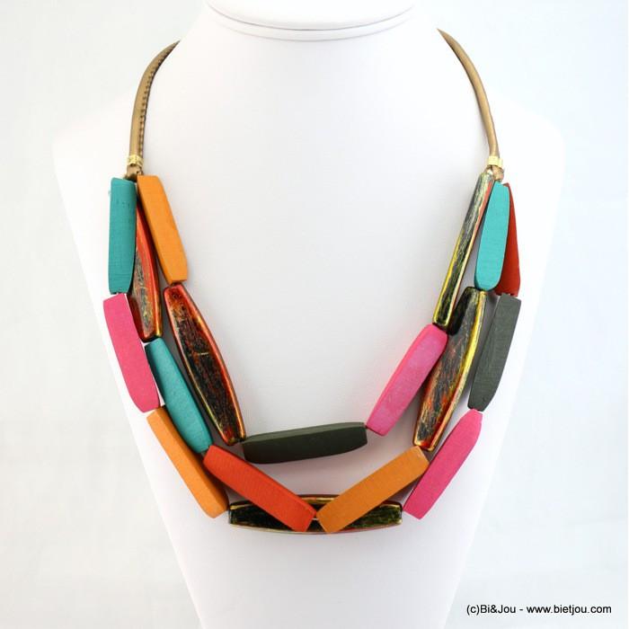 Collier court multicolore multi rangs pièces en bois femme