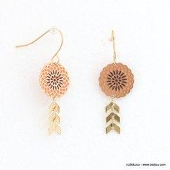 boucles d'oreilles minimaliste rosace émail épi de blé métal 0318131 orange