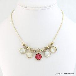collier court femme pièces verre simili-cuir rhinestone 0118216