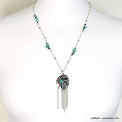 collier femme tête indien chaînes fines 0118225