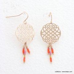 boucles d'oreilles femme minimaliste rosace filigrane 0318054 orange