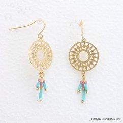 boucles d'oreilles femme minimaliste rosace filigrane 0318056 orange