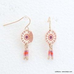 boucles d'oreilles femme minimaliste rosace colorée 0318057 orange