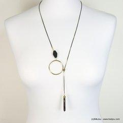 collier minimaliste lariat coulissant chaîne métal bicolore 0118189