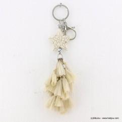 porte-clefs bijou de sac étoile pierre reconstituée pompon tassel tissu 0818006 blanc