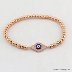 bracelet élastique oeil grec bleu strass billes métal 0218117 doré rose