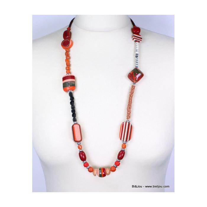Collier en métal, pierres en résine et perles de rocaille