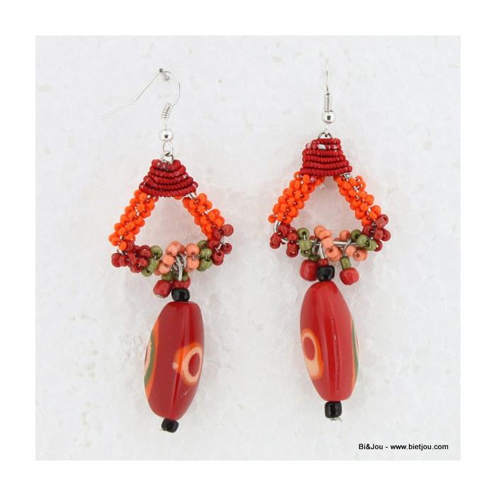 Boucles d'oreille aztèques à perles