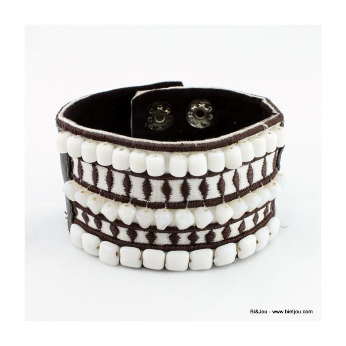 Bracelet brésilien cuir et coton