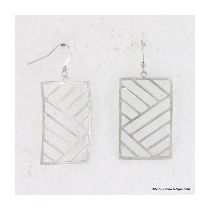 Boucles d'oreille géométriques rectangle métal brossé