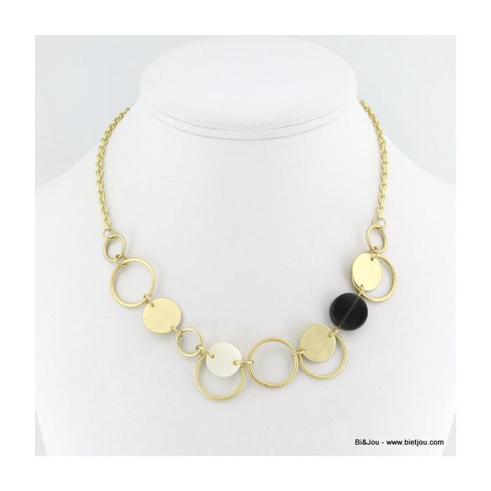 Collier romantique cercles de nacre, perle, métal