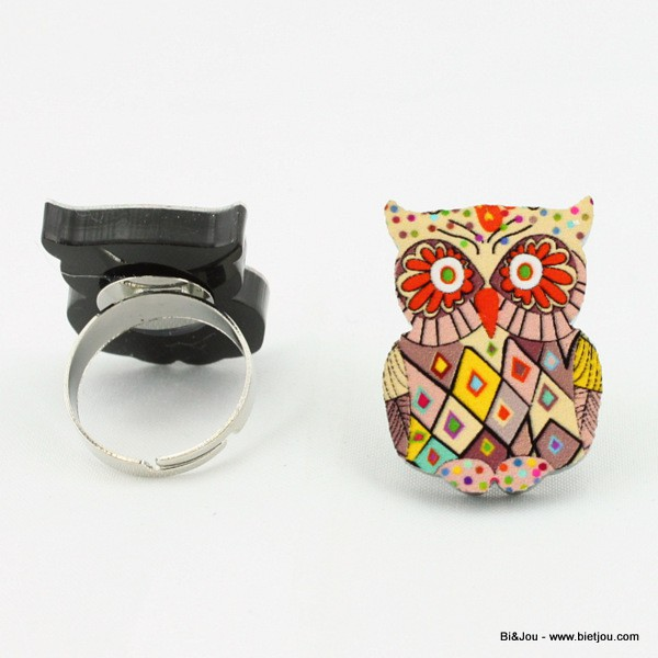 Bague hibou multicolore