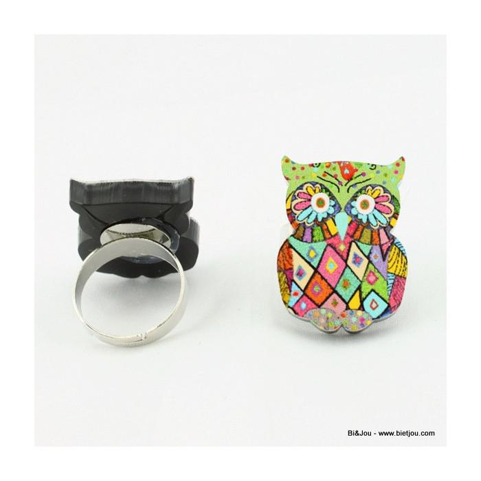 Bague hibou multicolore