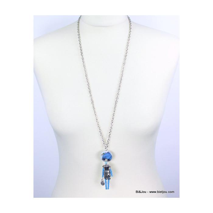 Collier poupée manga métal et perles
