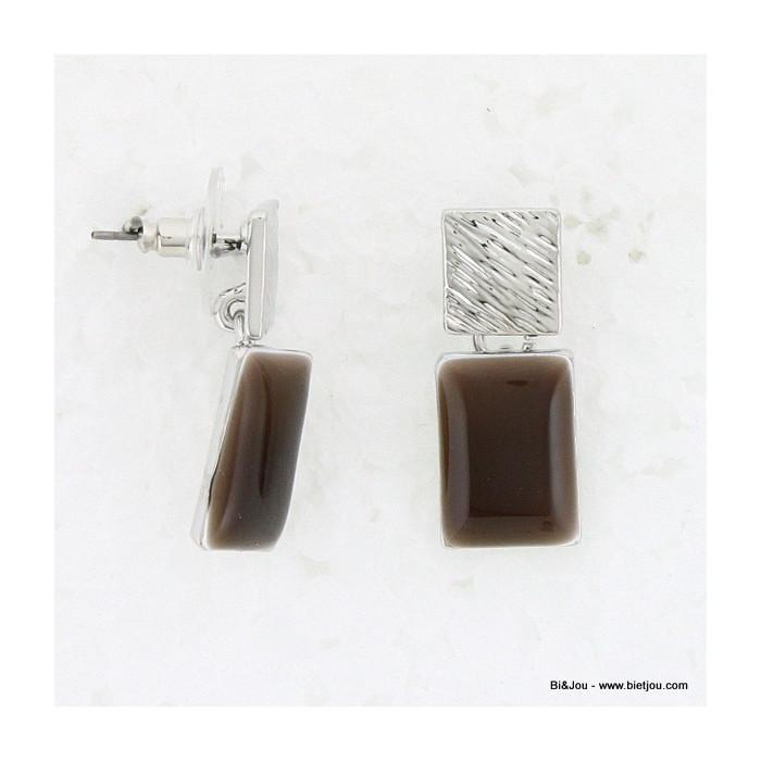 Boucles d'oreille Carré métal, émail